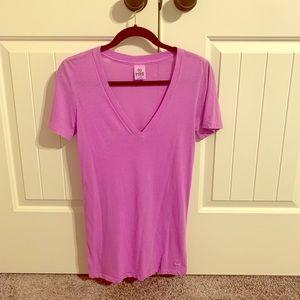 Victoria's Secret PINK V-Neck Shirt Pink Small